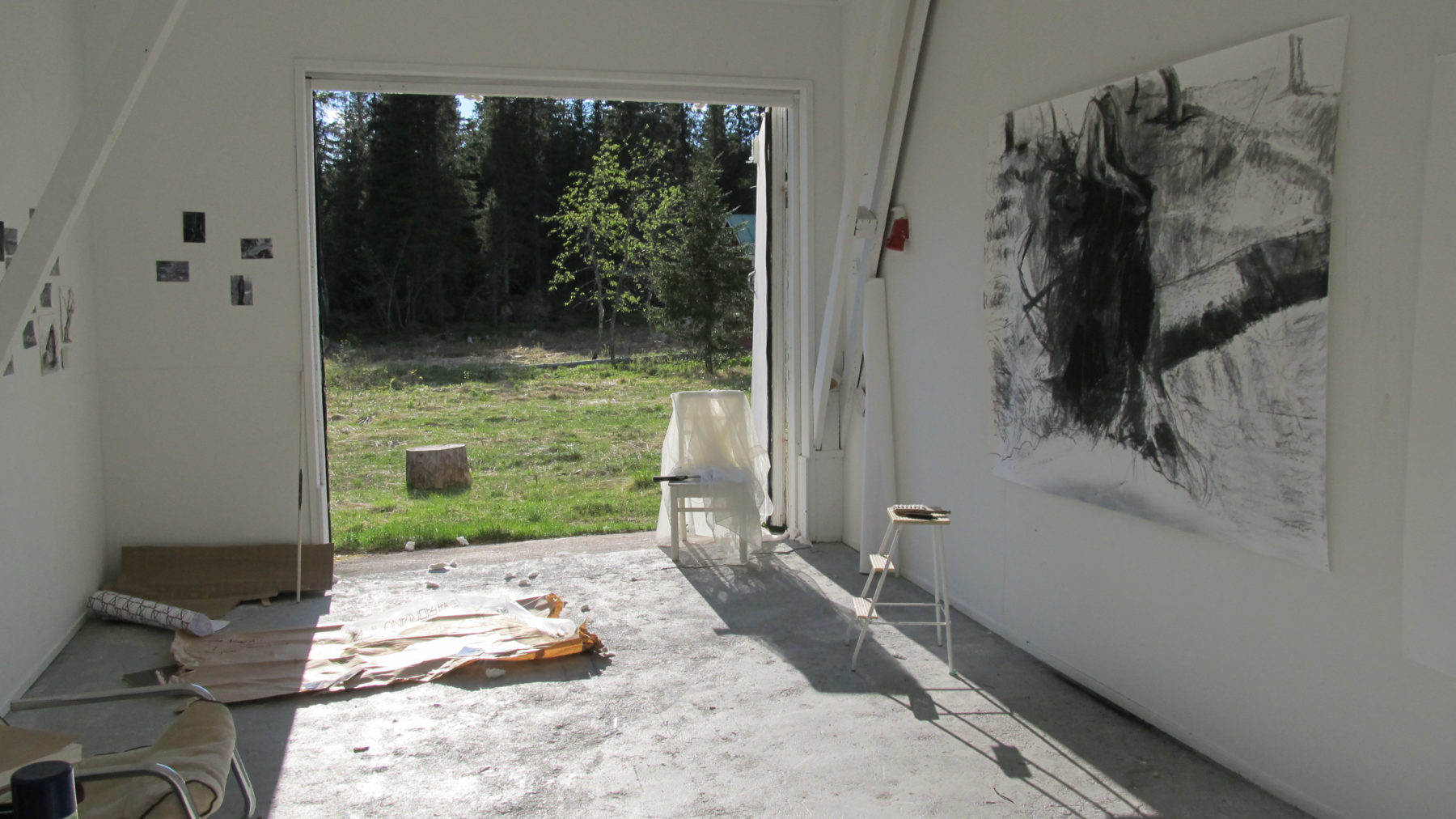Studio view at Mustarinda Residency, Finland, 2013
