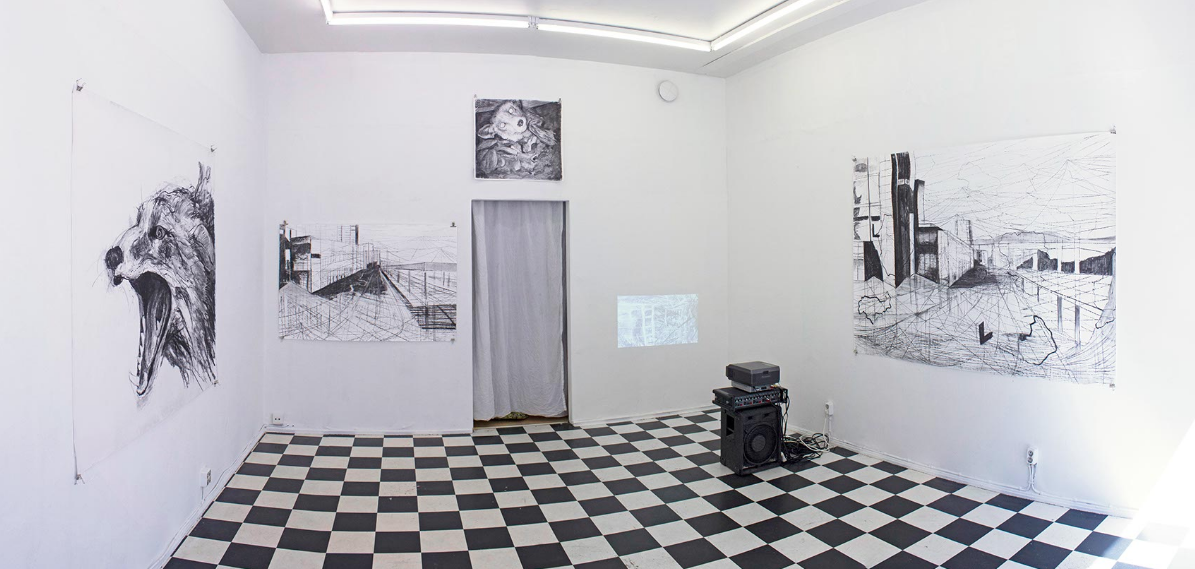 VULPICIDE /CITYCIDE (2013) by Jane Hughes & Taru Kallio installation view at Sorbus Galleria, Helsinki, Finland