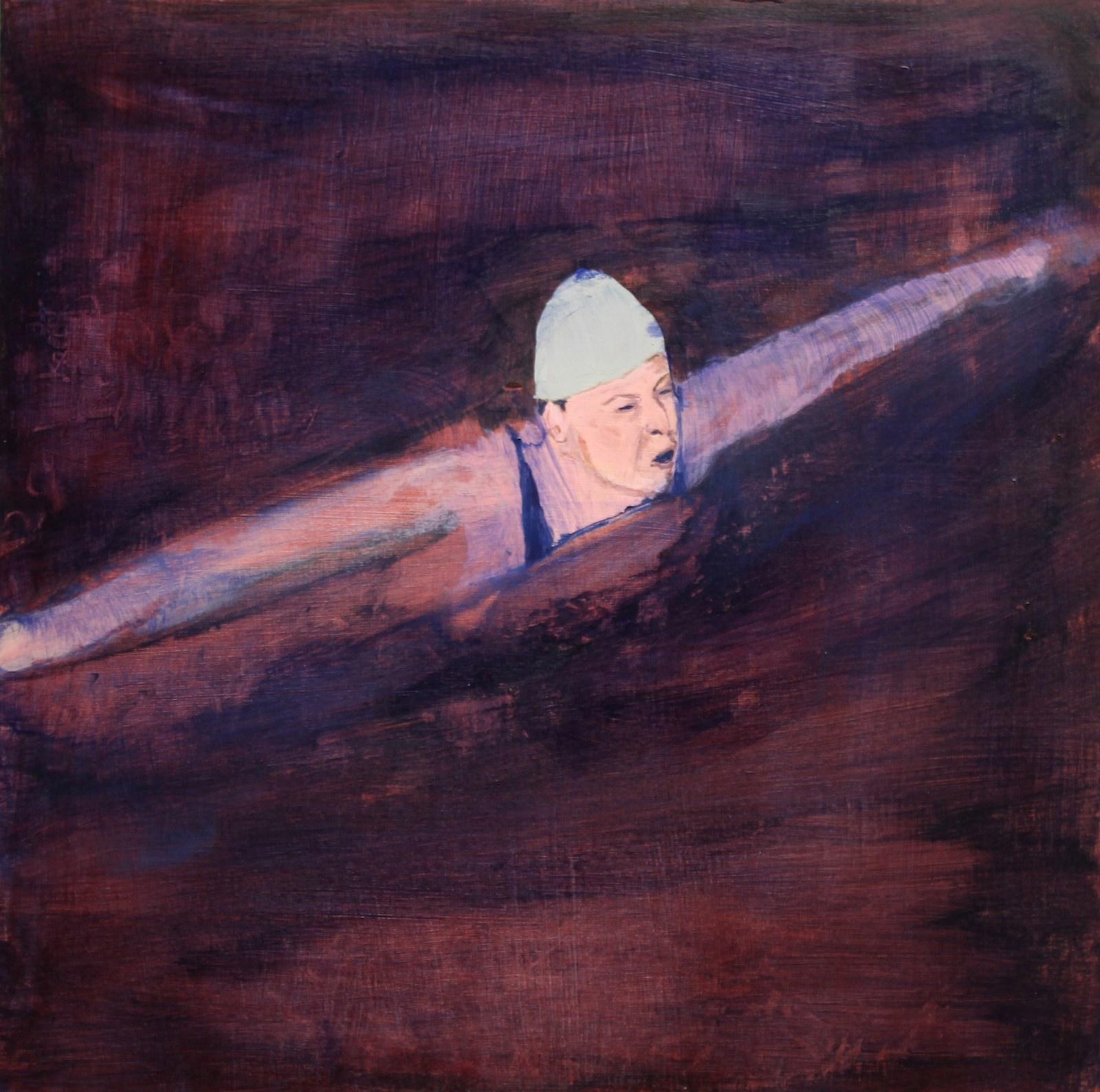 Swimmer, 1936 40 cm x 40 cm, acrylic on mdf, 2019