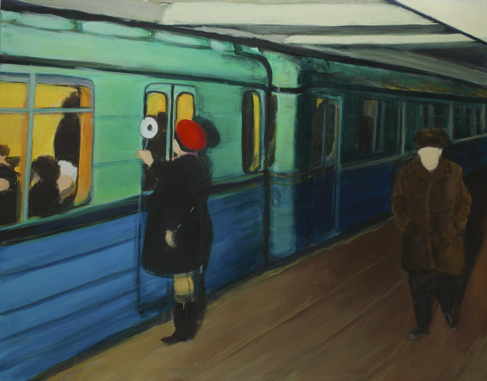Followed in Moscow underground 1980, 110 cm x 140 cm, acrylic on canvas, 2020