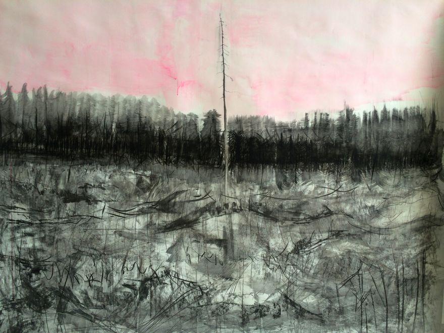 purple cliffs, 40 cm x 40 cm, acrylic on mdf, 2015, Jane Hughes