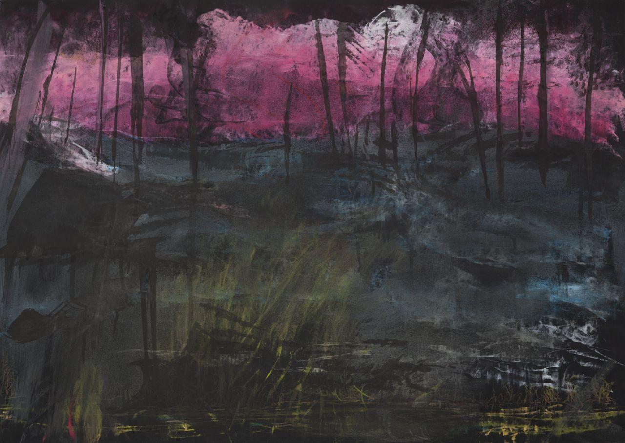 sunset fires, 70 x 100 cm, pastel on paper, 2014, Jane Hughes