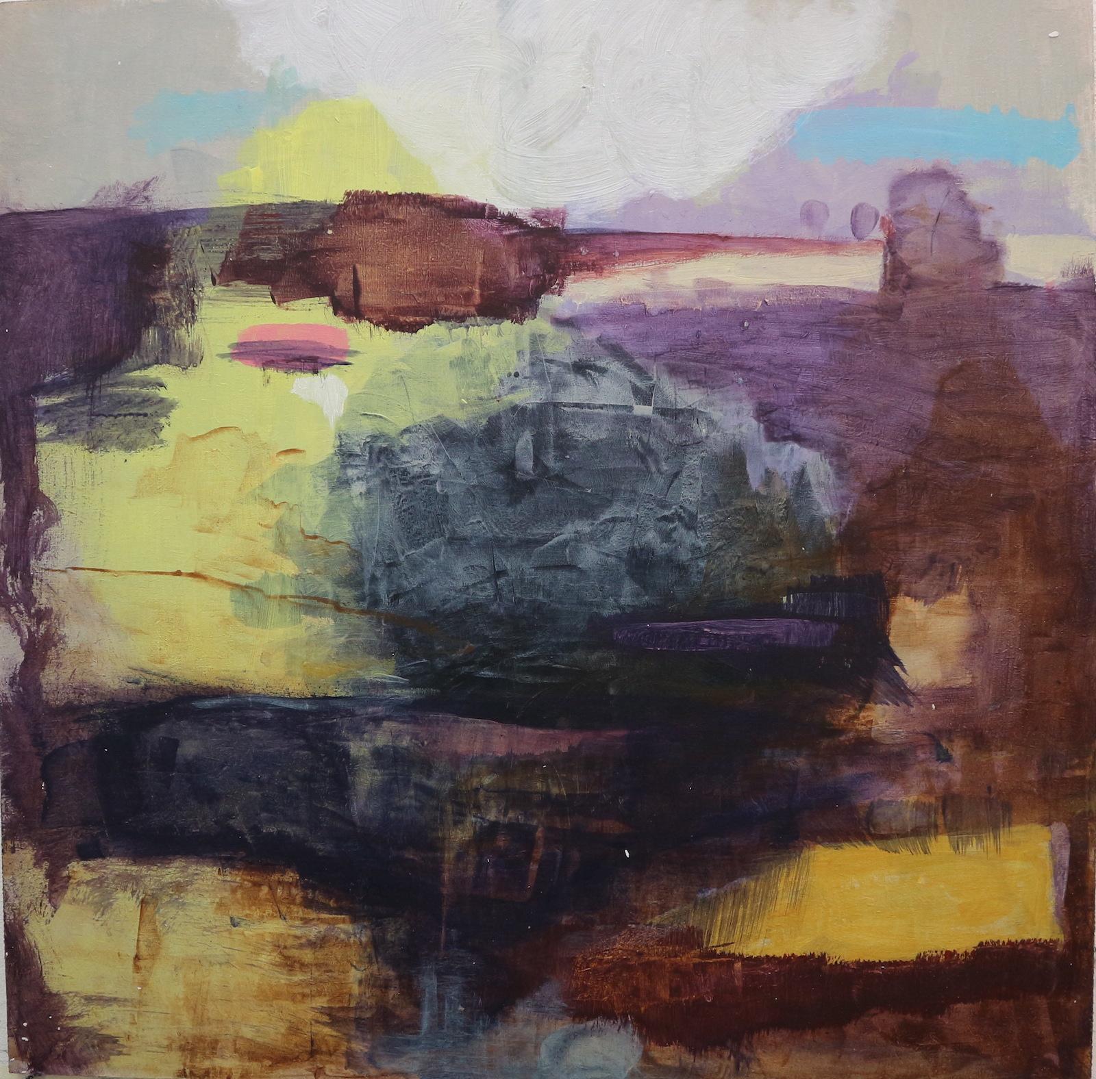 purple-yellow landscape, 40 cm x 40 cm, acrylic on mdf, 2016, Jane Hughes