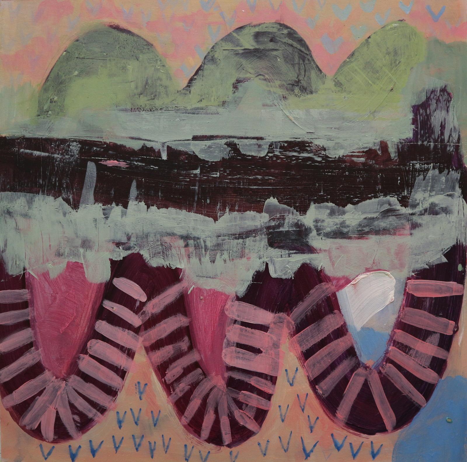 multicolored rivers, 40 cm x 40 cm, acrylic on mdf, 2016, Jane Hughes