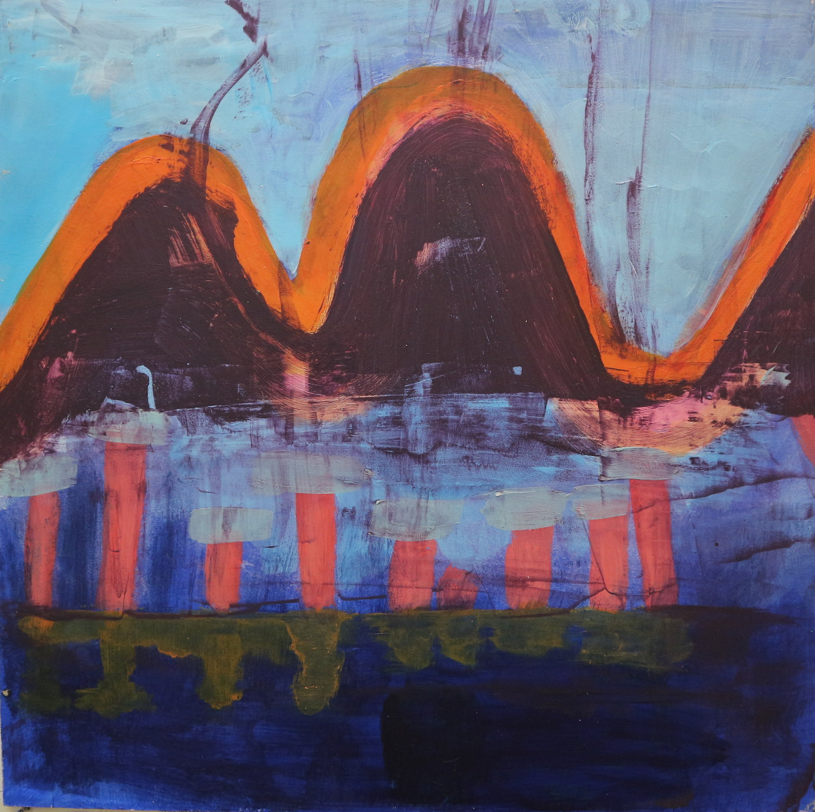 building bridges, 40 cm x 40 cm, acrylic on mdf, 2016, Jane Hughes
