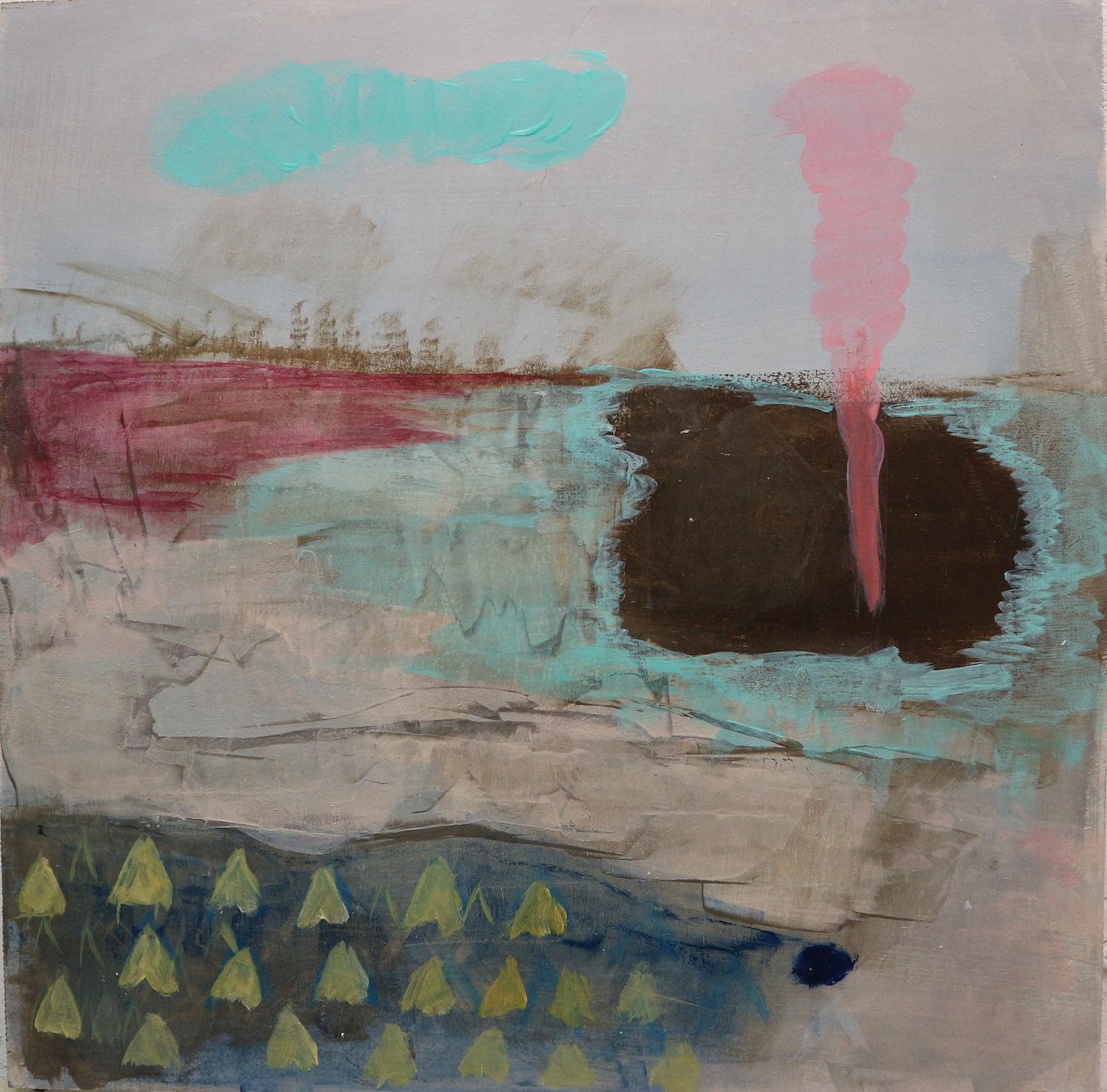 vapors and lakes, 40 cm x 40 cm, acrylic on mdf, 2016, Jane Hughes