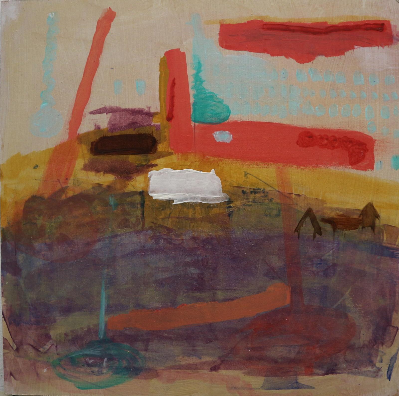 blobs in the distance, 40 cm x 40 cm, acrylic on mdf, 2016, Jane Hughes