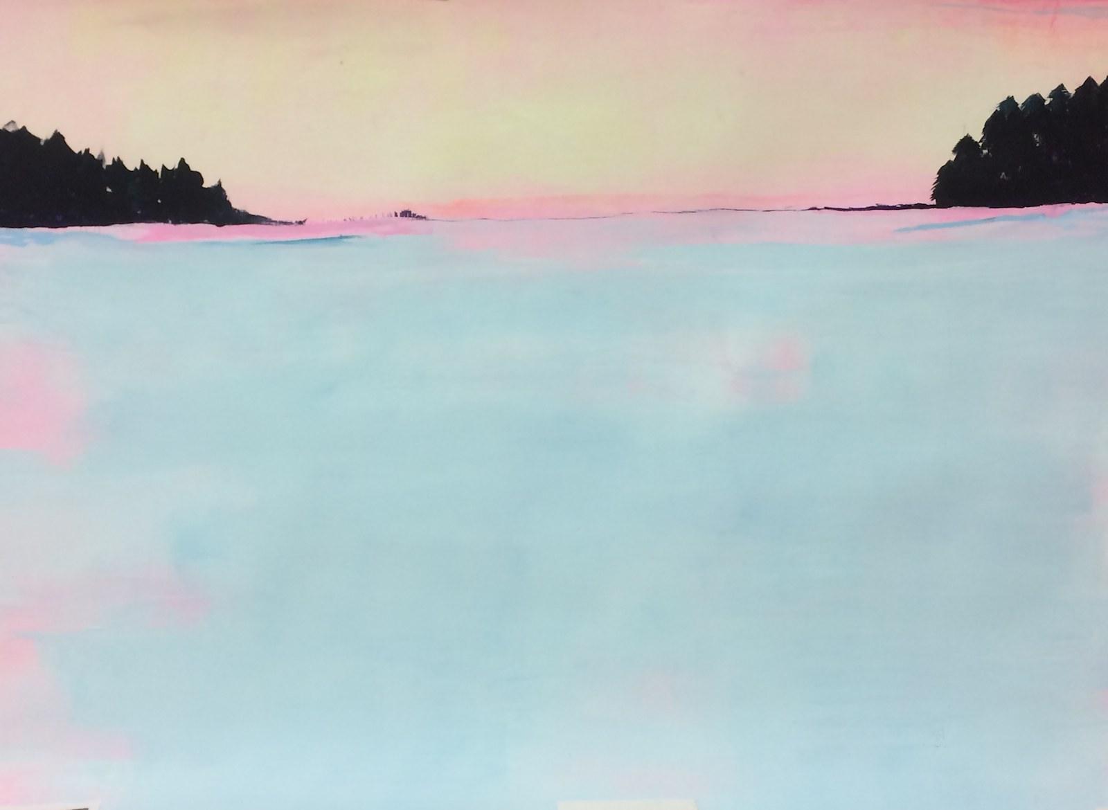 Lollipop skies, 100cm x 120cm , acrylic on paper, 2015, Jane Hughes