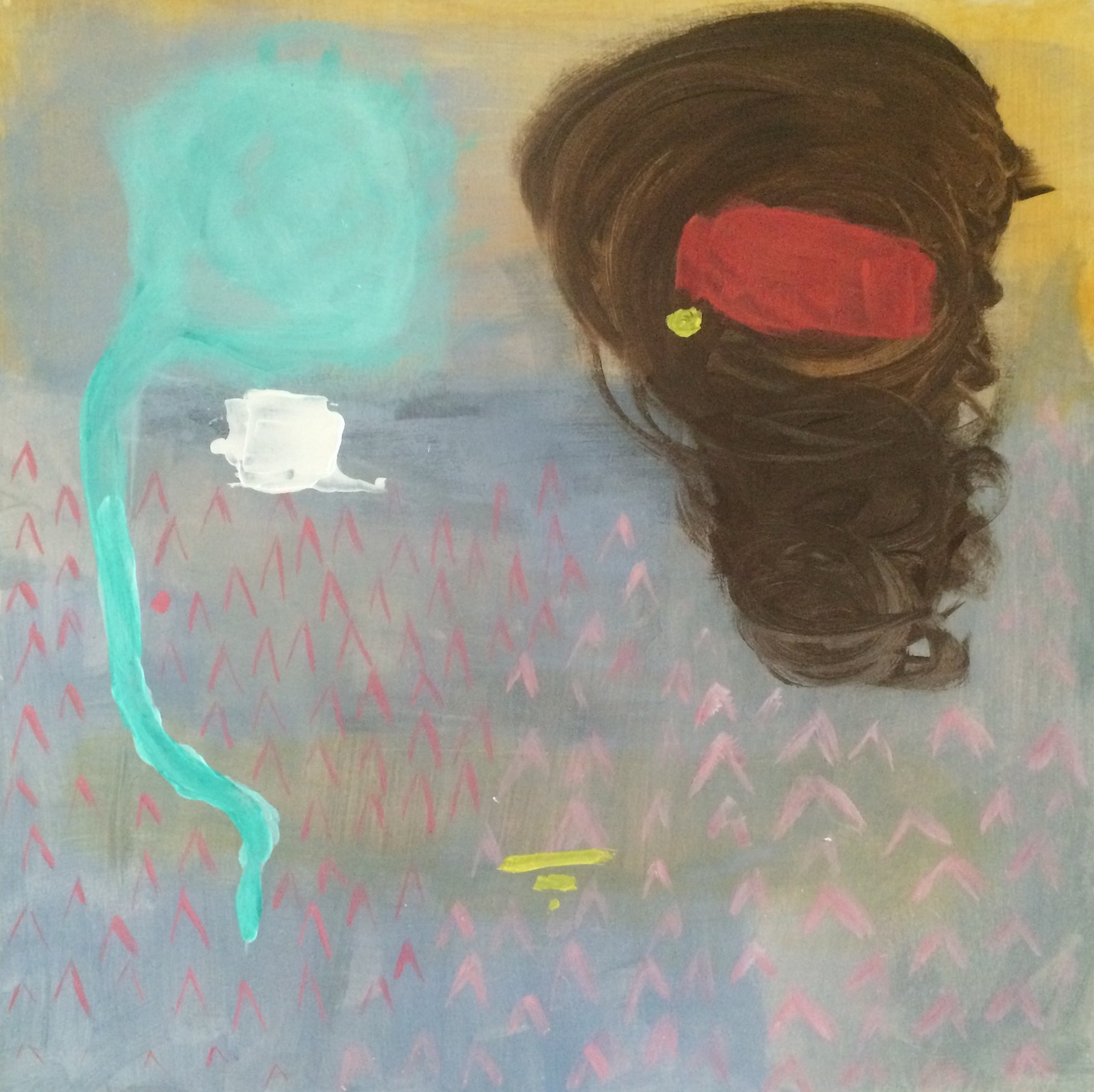having a chat, 40 cm x 40 cm, acrylic on mdf, 2016, Jane Hughes