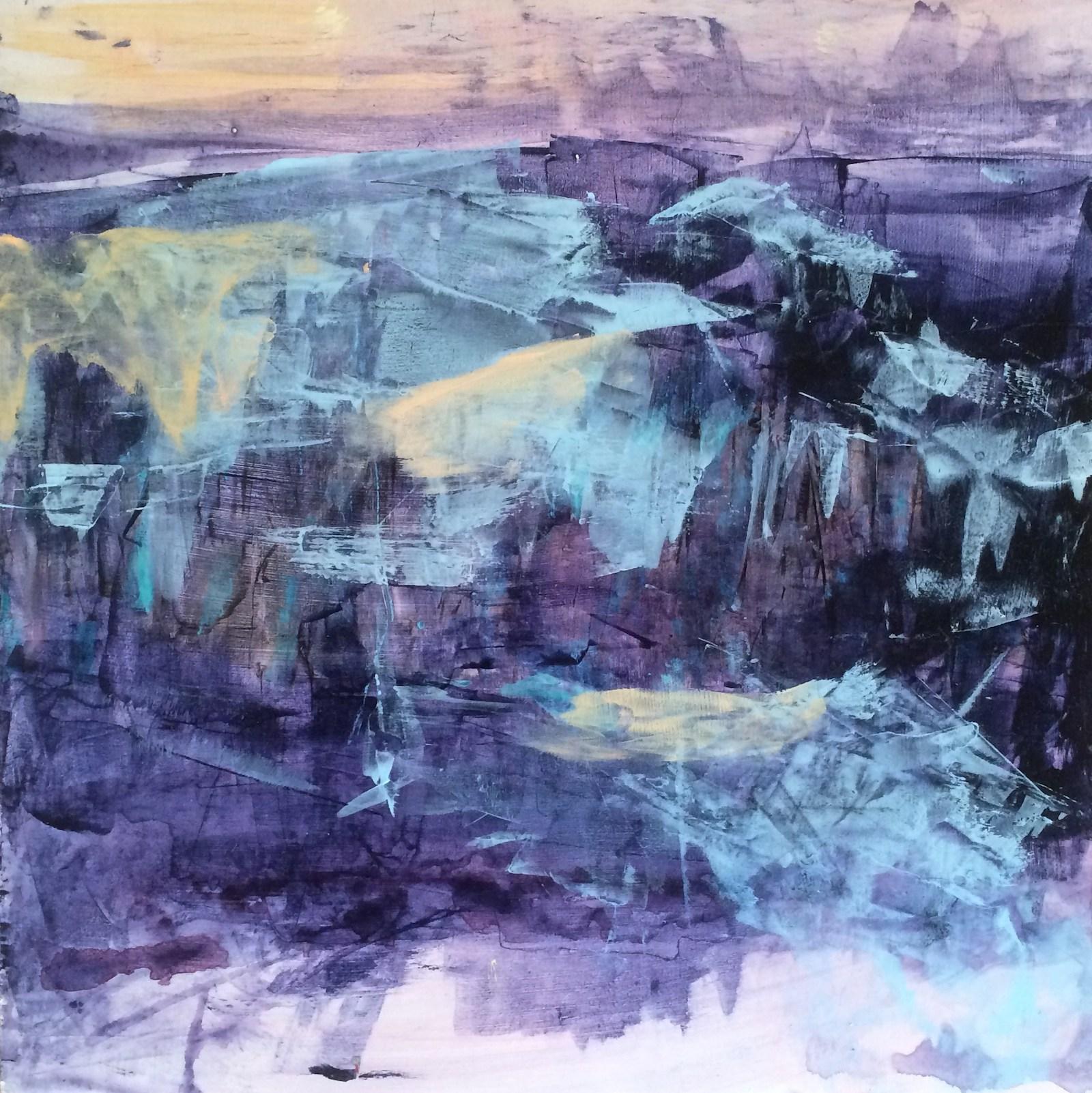 lilac cliffs, 40 cm x 40 cm, acrylic on mdf, 2016, Jane Hughes